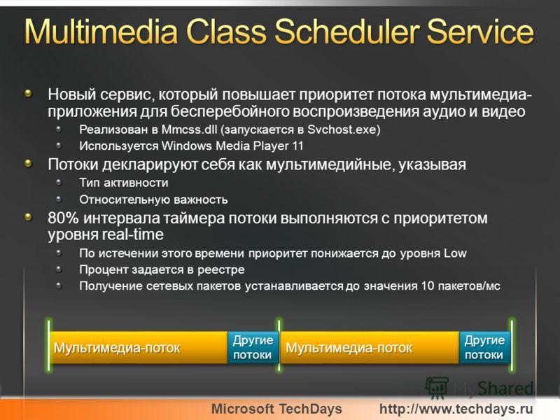 Microsoft TechDayshttp://www.techdays.ru Новый сервис, который повышает приоритет потока мультимедиа- приложения для бесперебойного воспроизведения аудио и видео Реализован в Mmcss.dll (запускается в Svchost.exe) Используется Windows Media Player 11