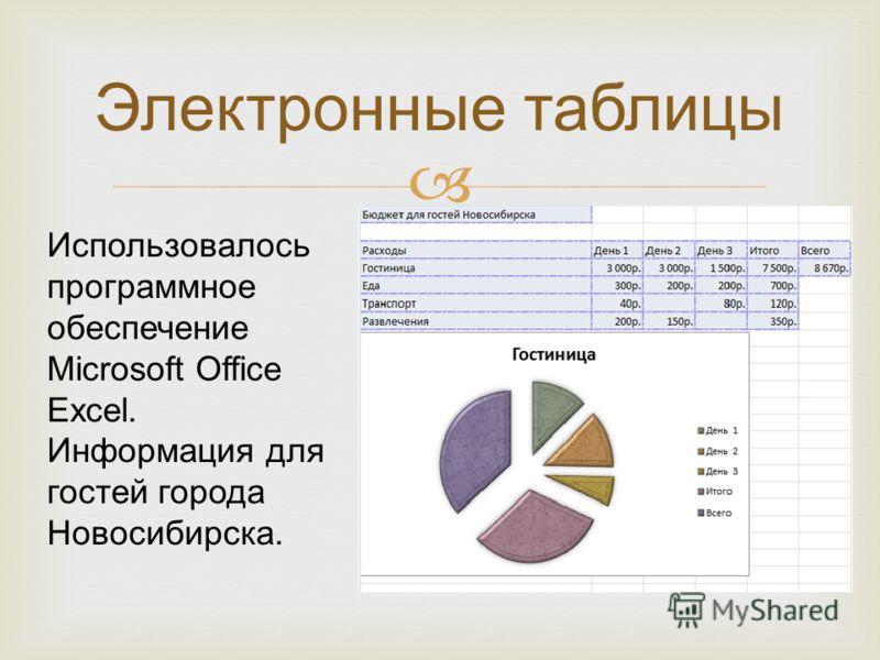 Электронные таблицы Использовалось программное обеспечение Microsoft Office Excel. Информация для гостей города Новосибирска.