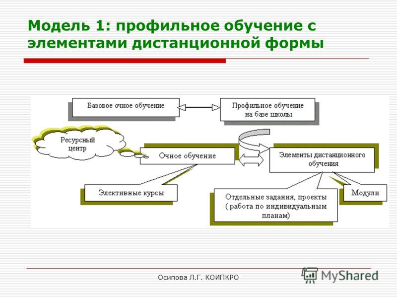 Осипова Л.Г. КОИПКРО Модель 1: профильное обучение с элементами дистанционной формы