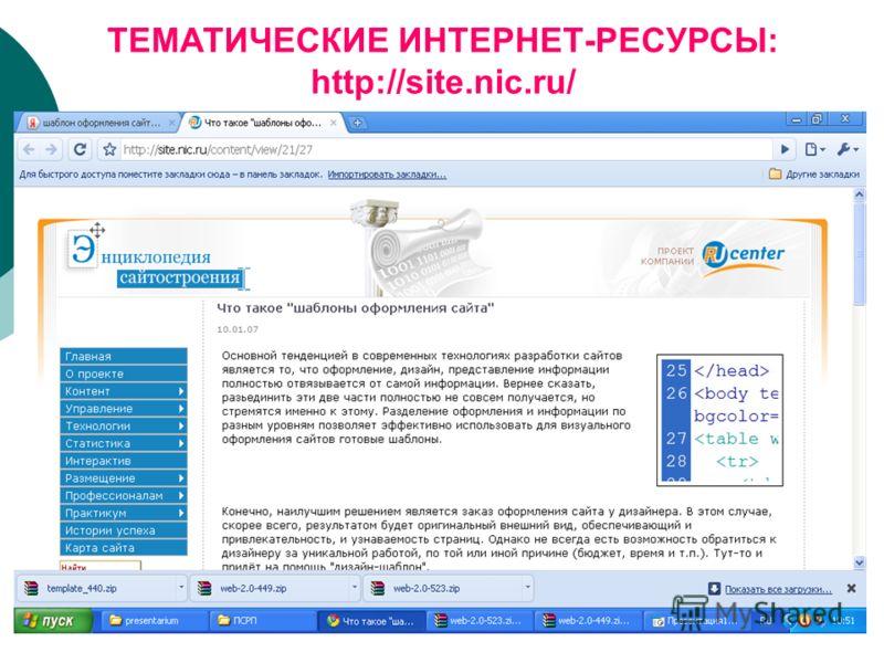 ТЕМАТИЧЕСКИЕ ИНТЕРНЕТ-РЕСУРСЫ: http://site.nic.ru/