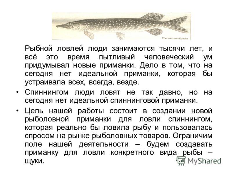 Рыбной ловлей люди занимаются тысячи лет, и всё это время пытливый человеческий ум придумывал новые приманки. Дело в том, что на сегодня нет идеальной приманки, которая бы устраивала всех, всегда, везде. Спиннингом люди ловят не так давно, но на сего