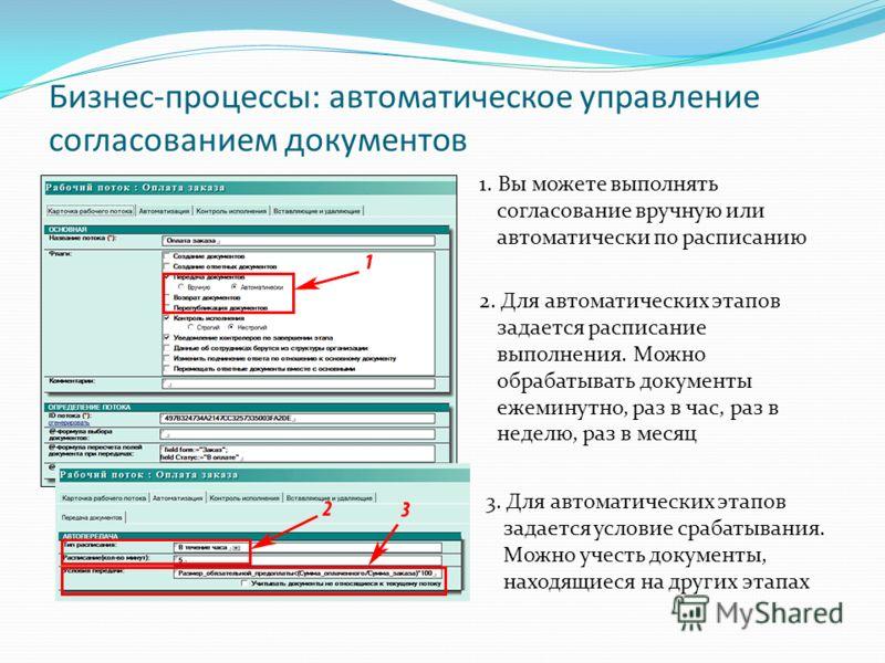 Бизнес-процессы: автоматическое управление согласованием документов 1. Вы можете выполнять согласование вручную или автоматически по расписанию 2. Для автоматических этапов задается расписание выполнения. Можно обрабатывать документы ежеминутно, раз