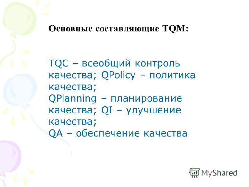 Основные составляющие TQМ: TQC – всеобщий контроль качества; QPolicy – политика качества; QPlanning – планирование качества; QI – улучшение качества; QA – обеспечение качества