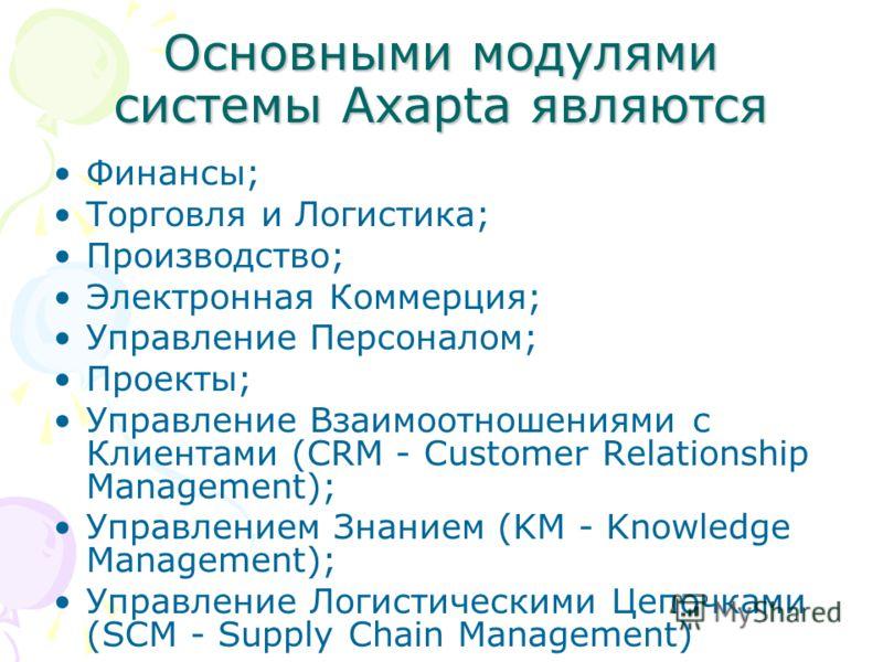 Основными модулями системы Axapta являются Финансы; Торговля и Логистика; Производство; Электронная Коммерция; Управление Персоналом; Проекты; Управление Взаимоотношениями с Клиентами (CRM - Customer Relationship Management); Управлением Знанием (KM