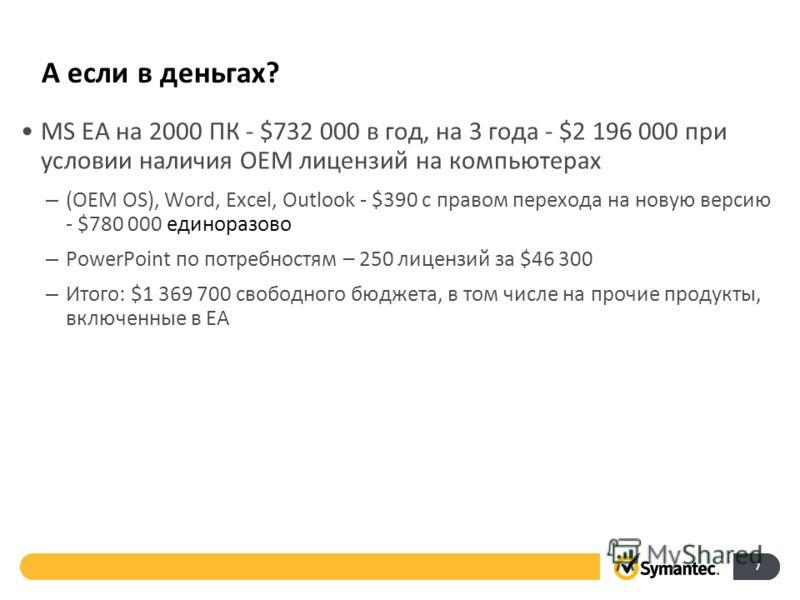 А если в деньгах? 7 MS EA на 2000 ПК - $732 000 в год, на 3 года - $2 196 000 при условии наличия OEM лицензий на компьютерах – (OEM OS), Word, Excel, Outlook - $390 с правом перехода на новую версию - $780 000 единоразово – PowerPoint по потребностя