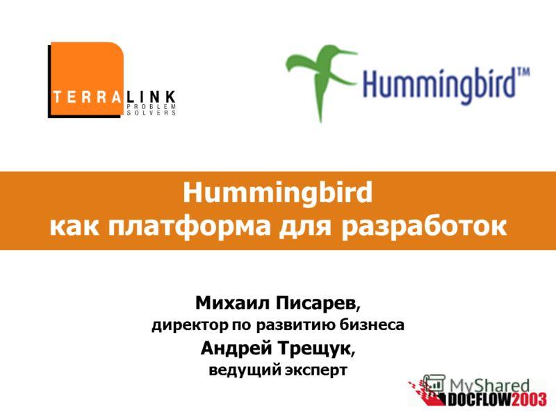 Hummingbird как платформа для разработок Михаил Писарев, директор по развитию бизнеса Андрей Трещук, ведущий эксперт