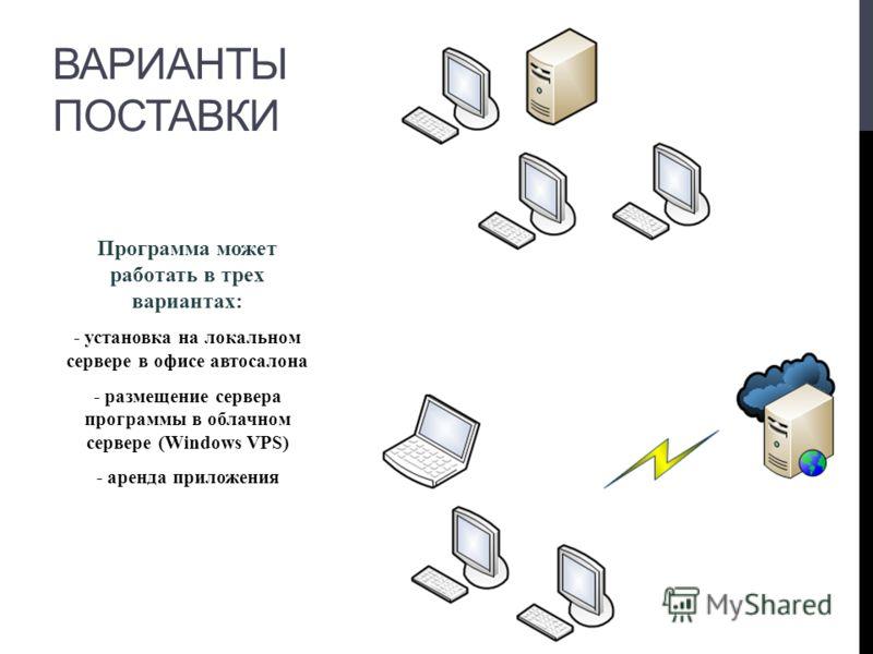 Программа может работать в трех вариантах: - установка на локальном сервере в офисе автосалона - размещение сервера программы в облачном сервере (Windows VPS) - аренда приложения ВАРИАНТЫ ПОСТАВКИ