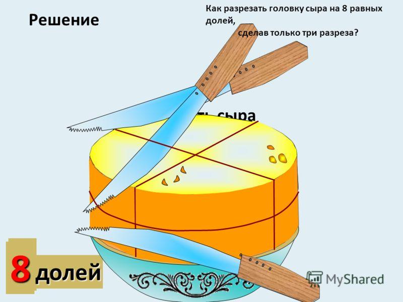 2 доли 48долей Какая часть сыра осталась на блюде? Решение Как разрезать головку сыра на 8 равных долей, сделав только три разреза?