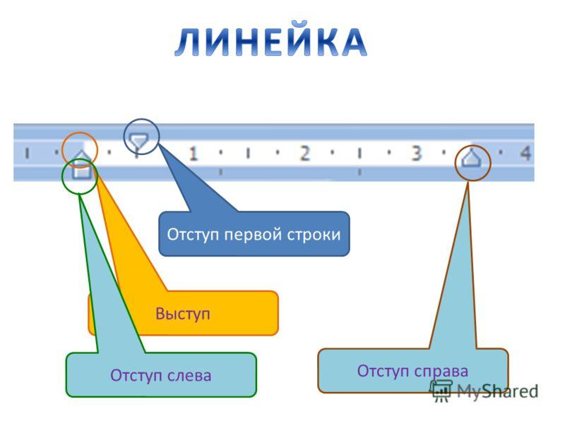 Отступ первой строки Выступ Отступ слева Отступ справа