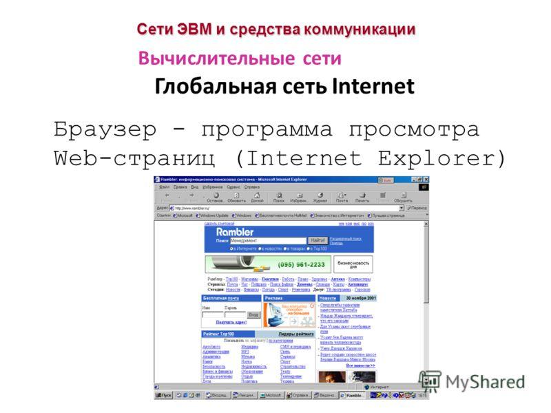 Сети ЭВМ и средства коммуникации Глобальная сеть Internet Вычислительные сети Браузер - программа просмотра Web-страниц (Internet Explorer)