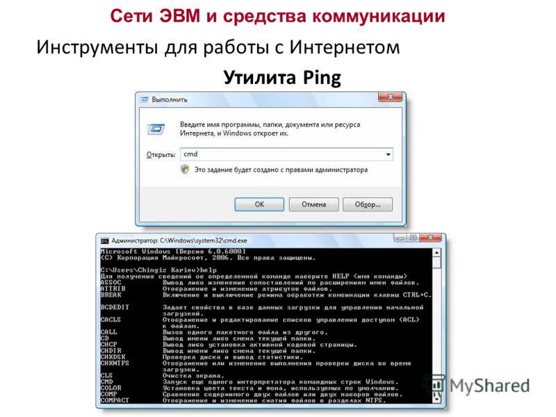 Сети ЭВМ и средства коммуникации Инструменты для работы с Интернетом Утилита Ping