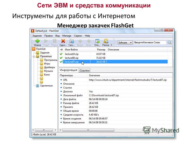 Сети ЭВМ и средства коммуникации Инструменты для работы с Интернетом Менеджер закачек FlashGet