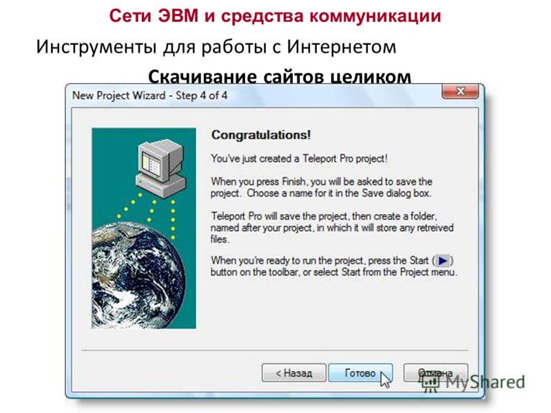 Сети ЭВМ и средства коммуникации Инструменты для работы с Интернетом Скачивание сайтов целиком