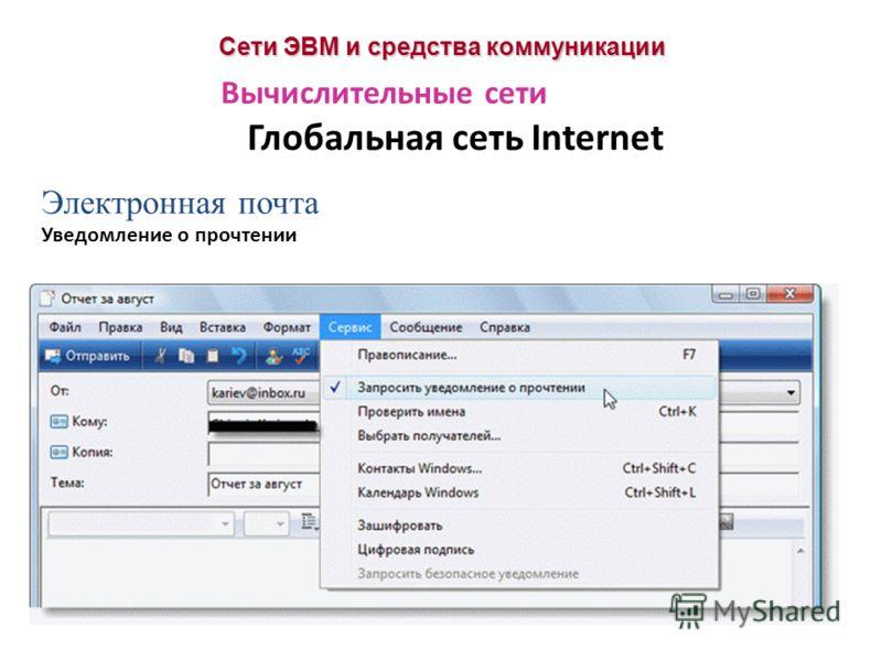 Сети ЭВМ и средства коммуникации Глобальная сеть Internet Вычислительные сети Электронная почта Уведомление о прочтении