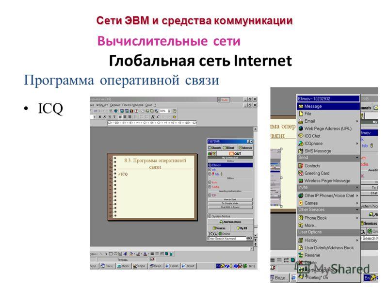 Сети ЭВМ и средства коммуникации Глобальная сеть Internet Вычислительные сети Программа оперативной связи ICQ