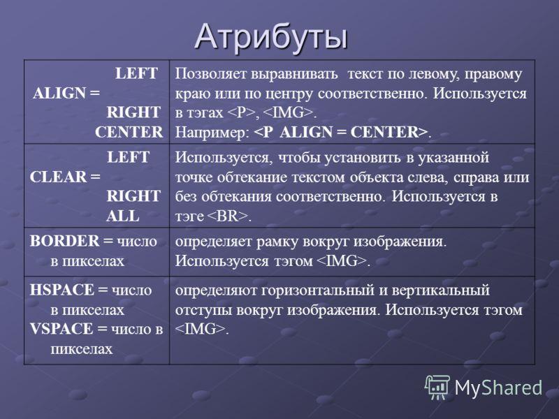Атрибуты LEFT ALIGN = RIGHT CENTER Позволяет выравнивать текст по левому, правому краю или по центру соответственно. Используется в тэгах,. Например:. LEFT CLEAR = RIGHT ALL Используется, чтобы установить в указанной точке обтекание текстом объекта с