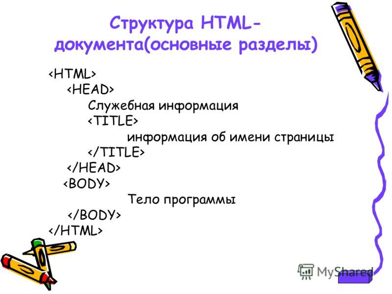 Cтруктура HTML- документа(основные разделы) Служебная информация информация об имени страницы Тело программы