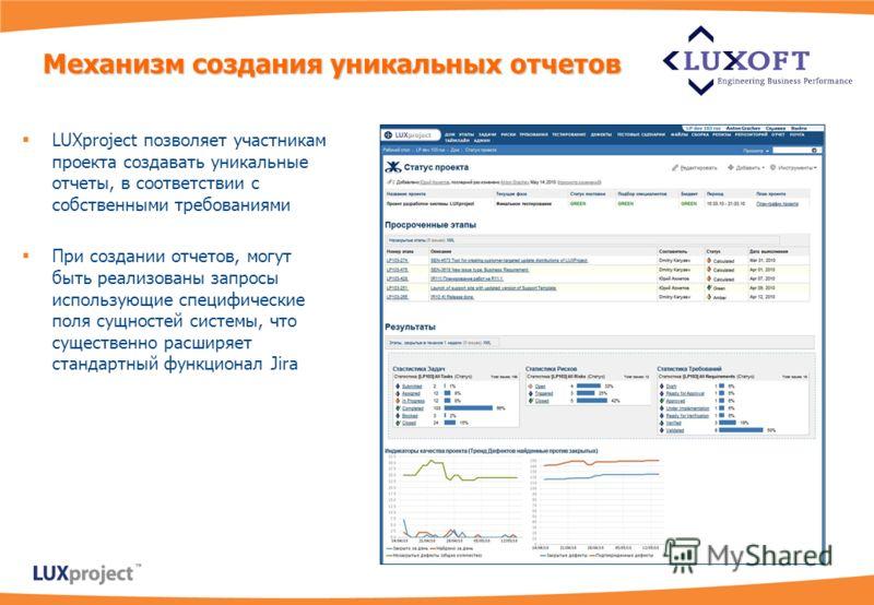 LUXproject позволяет участникам проекта создавать уникальные отчеты, в соответствии с собственными требованиями При создании отчетов, могут быть реализованы запросы использующие специфические поля сущностей системы, что существенно расширяет стандарт