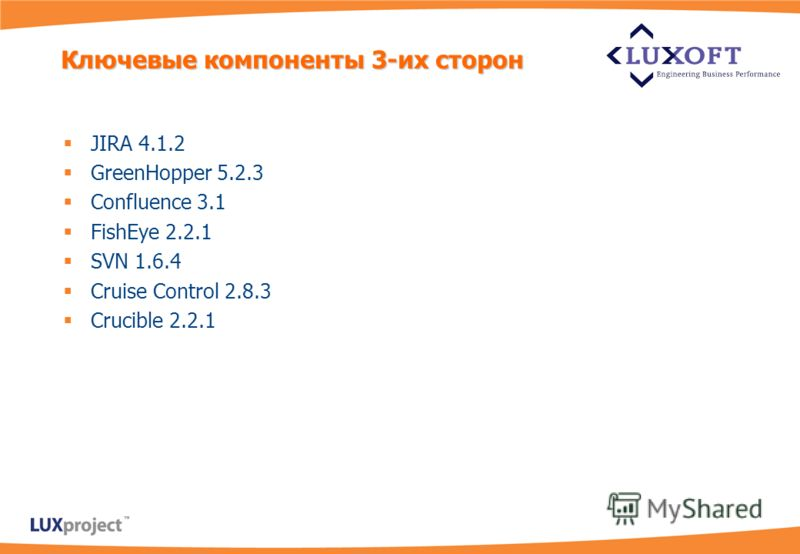 JIRA 4.1.2 GreenHopper 5.2.3 Confluence 3.1 FishEye 2.2.1 SVN 1.6.4 Cruise Control 2.8.3 Crucible 2.2.1 Ключевые компоненты 3-их сторон