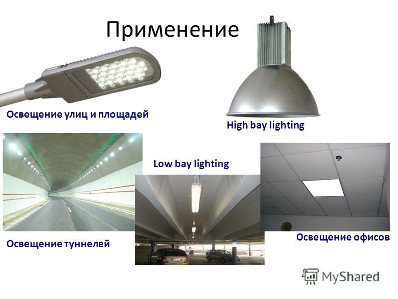 Применение Освещение улиц и площадей Освещение туннелей Low bay lighting Освещение офисов High bay lighting