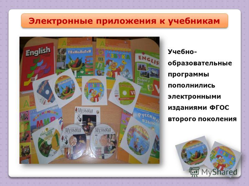 Электронные приложения к учебникам Учебно- образовательные программы пополнились электронными изданиями ФГОС второго поколения