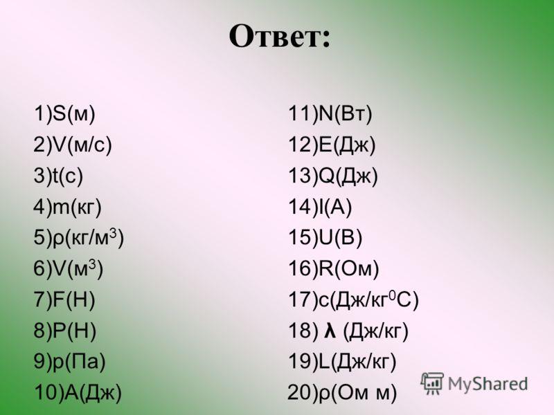 Ответ: 1)S(м) 2)V(м/с) 3)t(с) 4)m(кг) 5)ρ(кг/м 3 ) 6)V(м 3 ) 7)F(Н) 8)P(Н) 9)p(Па) 10)A(Дж) 11)N(Вт) 12)E(Дж) 13)Q(Дж) 14)I(А) 15)U(В) 16)R(Ом) 17)c(Дж/кг 0 С) 18) λ (Дж/кг) 19)L(Дж/кг) 20)ρ(Ом м)