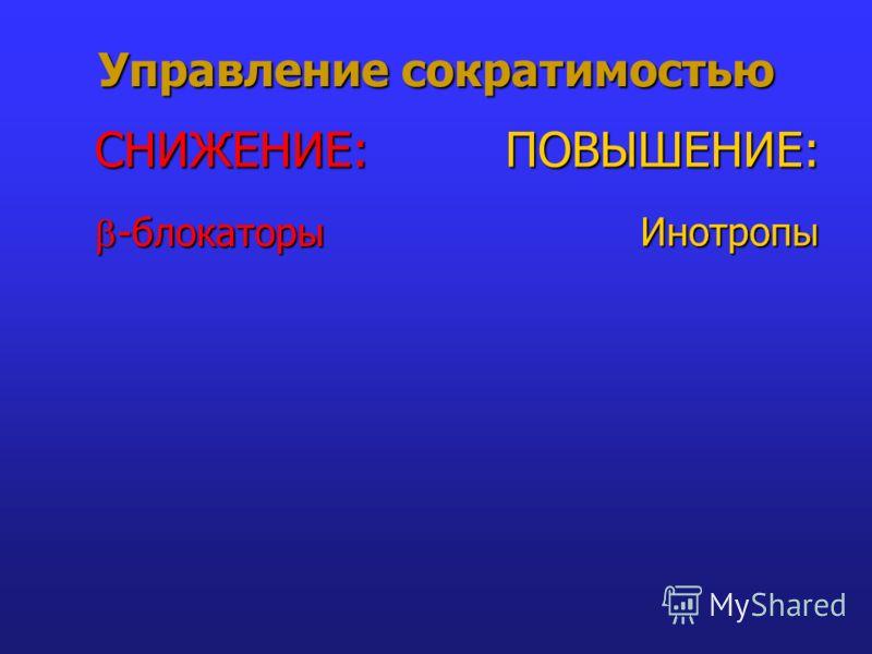 Управление сократимостью -блокаторы -блокаторы Инотропы СНИЖЕНИЕ:ПОВЫШЕНИЕ: