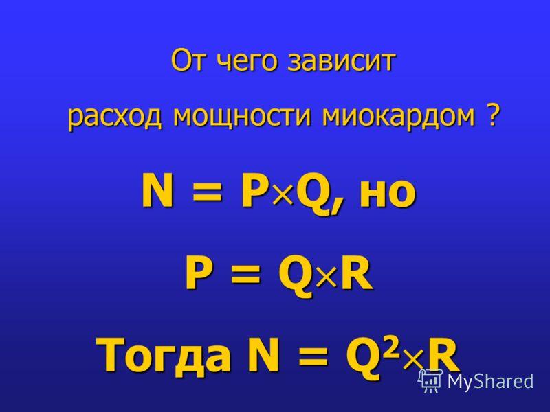 От чего зависит расход мощности миокардом ? N = P Q, но P = Q R Тогда N = Q 2 R