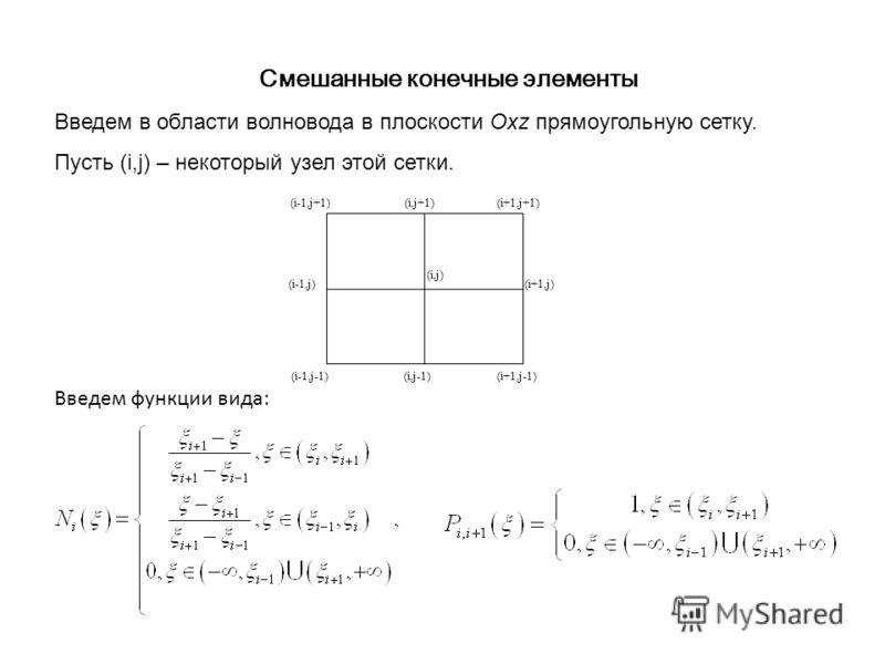 Смешанные конечные элементы Введем в области волновода в плоскости Oxz прямоугольную сетку. Пусть (i,j) – некоторый узел этой сетки. (i-1,j+1)(i,j+1)(i+1,j+1) (i-1,j)(i+1,j) (i-1,j-1)(i+1,j-1) (i,j) (i,j-1) Введем функции вида: