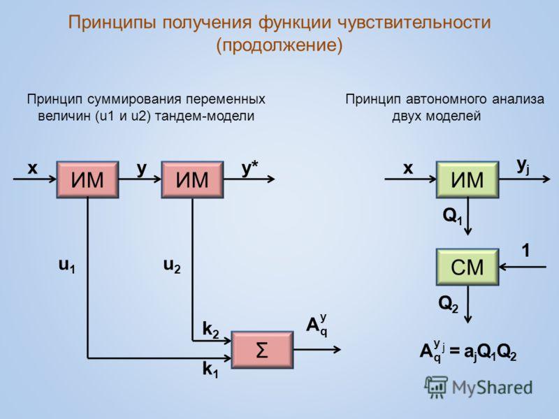 Принципы получения функции чувствительности (продолжение) ИМ xx 1 Σ CМCМ yy*y* u1u1 u2u2 k1k1 k2k2 yjyj Q2Q2 Q1Q1 A = a j Q 1 Q 2 j Принцип суммирования переменных величин (u1 и u2) тандем-модели Принцип автономного анализа двух моделей A