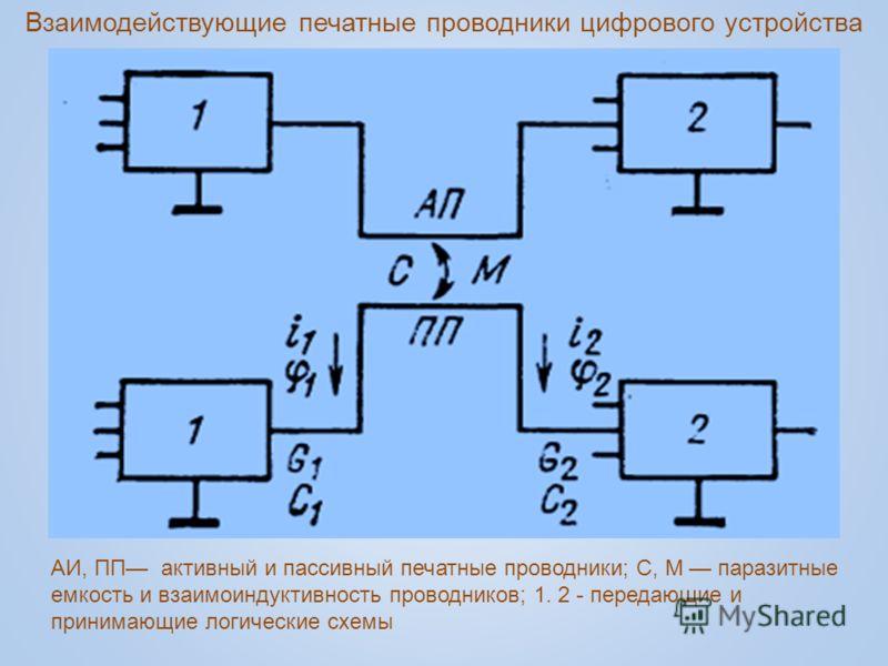 АИ, ПП активный и пассивный печатные проводники; С, М паразитные емкость и взаимоиндуктивность проводников; 1. 2 - передающие и принимающие логические схемы Взаимодействующие печатные проводники цифрового устройства