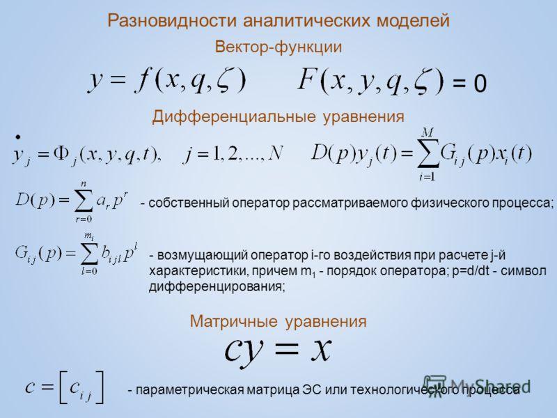 Разновидности аналитических моделей Вектор-функции Дифференциальные уравнения Матричные уравнения = 0 - собственный оператор рассматриваемого физического процесса; - возмущающий оператор i-го воздействия при расчете j-й характеристики, причем m 1 - п
