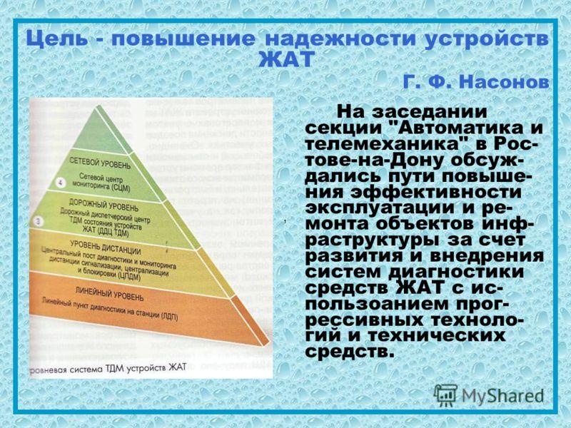 , Цель - повышение надежности устройств ЖАТ Г. Ф. Насонов На заседании секции