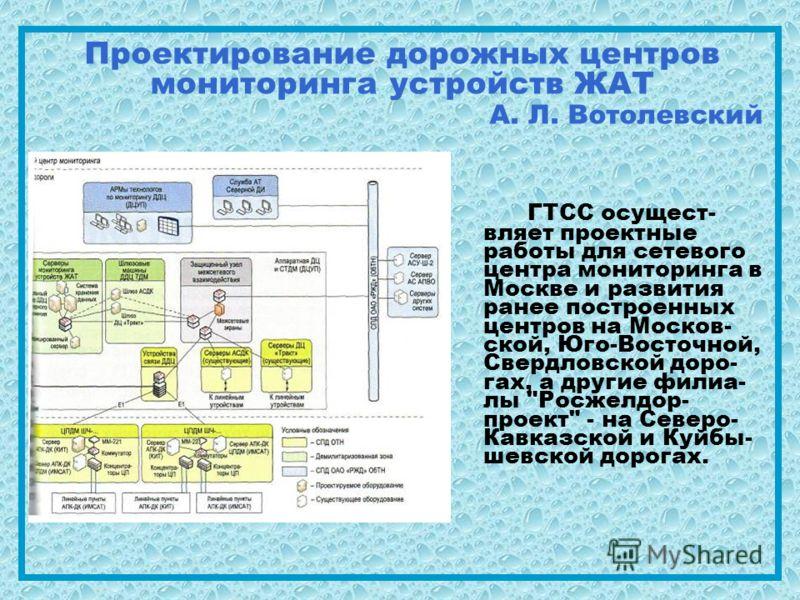 Проектирование дорожных центров мониторинга устройств ЖАТ А. Л. Вотолевский ГТСС осущест- вляет проектные работы для сетевого центра мониторинга в Москве и развития ранее построенных центров на Москов- ской, Юго-Восточной, Свердловской доро- гах, а д