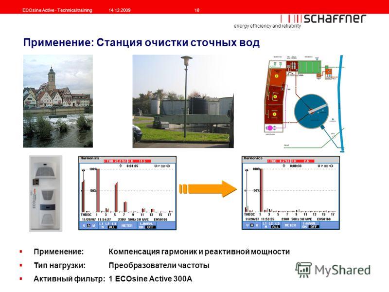 energy efficiency and reliability ECOsine Active - Technical training14.12.200918 Применение: Станция очистки сточных вод Применение: Компенсация гармоник и реактивной мощности Тип нагрузки: Преобразователи частоты Активный фильтр: 1 ECOsine Active 3