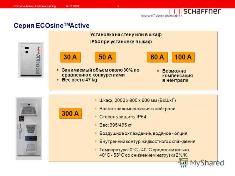 energy efficiency and reliability ECOsine Active - Technical training14.12.20095 Серия ECOsine TM Active Занимаемый объем около 30% по сравнению с конкурентами Вес всего 47 kg 30 A100 A 300 A 50 A Шкаф, 2000 x 800 x 600 мм (ВxШxГ) Возможна компенсаци
