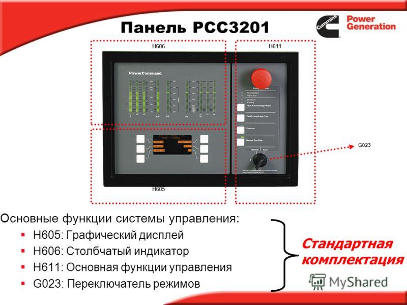 Панель PCC3201 Основные функции системы управления: H605: Графический дисплей H606: Столбчатый индикатор H611: Основная функции управления G023: Переключатель режимов H611 H605 H606 Стандартная комплектация G023