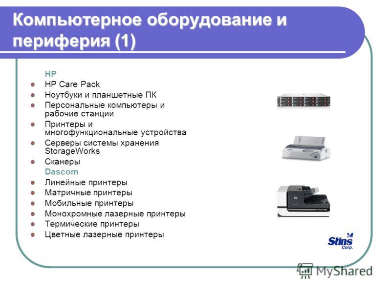 Компьютерное оборудование и периферия (1) HP HP Care Pack Ноутбуки и планшетные ПК Персональные компьютеры и рабочие станции Принтеры и многофункциональные устройства Серверы системы хранения StorageWorks Сканеры Dascom Линейные принтеры Матричные пр