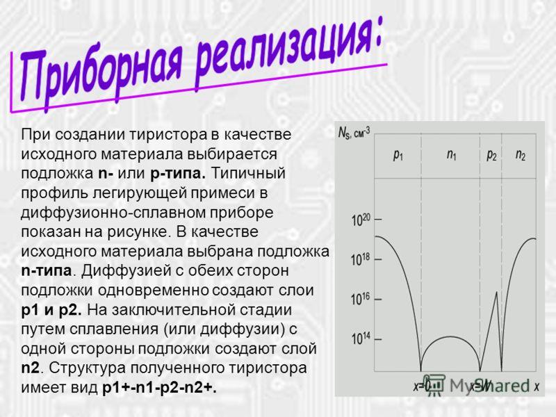 14.10.2012* При создании тиристора в качестве исходного материала выбирается подложка n- или р-типа. Типичный профиль легирующей примеси в диффузионно-сплавном приборе показан на рисунке. В качестве исходного материала выбрана подложка n-типа. Диффуз