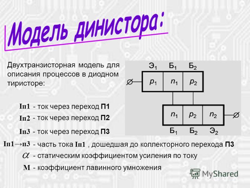 * Двухтранзисторная модель для описания процессов в диодном тиристоре: - ток через переход П1 Iп1 Iп2 - ток через переход П2 Iп3 - ток через переход П3 Iп1п3 - часть тока I п1, дошедшая до коллекторного перехода П3 - статическим коэффициентом усилени