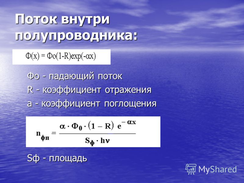 Поток внутри полупроводника: Фо - падающий поток R - коэффициент отражения a - коэффициент поглощения Sф - площадь