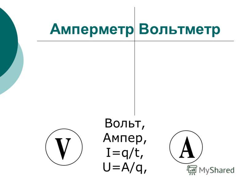 Амперметр Вольтметр Вольт, Ампер, I=q/t, U=A/q,