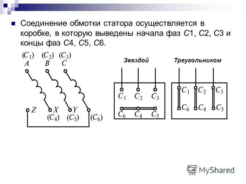 Соединение обмотки статора осуществляется в коробке, в которую выведены начала фаз С1, С2, С3 и концы фаз С4, С5, С6. ЗвездойТреугольником