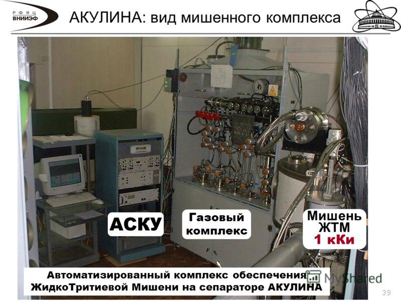 39 АКУЛИНА: вид мишенного комплекса Автоматизированный комплекс обеспечения ЖидкоТритиевой Мишени на сепараторе АКУЛИНА Газовый комплекс АСКУ Мишень ЖТМ 1 кКи