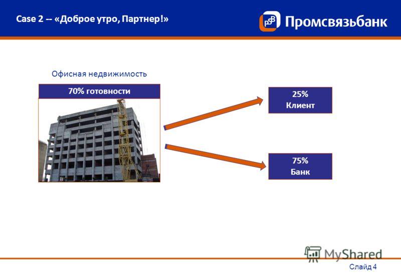 Слайд 4 Case 2 -- «Доброе утро, Партнер!» 25% Клиент 75% Банк Офисная недвижимость 70% готовности