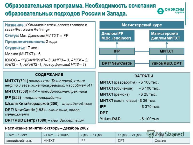 Образовательная программа. Необходимость сочетания образовательных подходов России и Запада. Название: Название: «Химическая технология топлива и газа»/Petroleum Refining» Статус: Статус: Маг. Дипломы МИТХТ и IFP Продолжительность: Продолжительность: