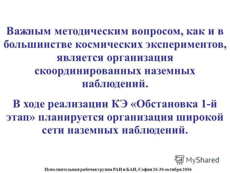 Исполнительная рабочая группа РАН и БАН, София 26-30 октября 2004 Важным методическим вопросом, как и в большинстве космических экспериментов, является организация скоординированных наземных наблюдений. В ходе реализации КЭ «Обстановка 1-й этап» план