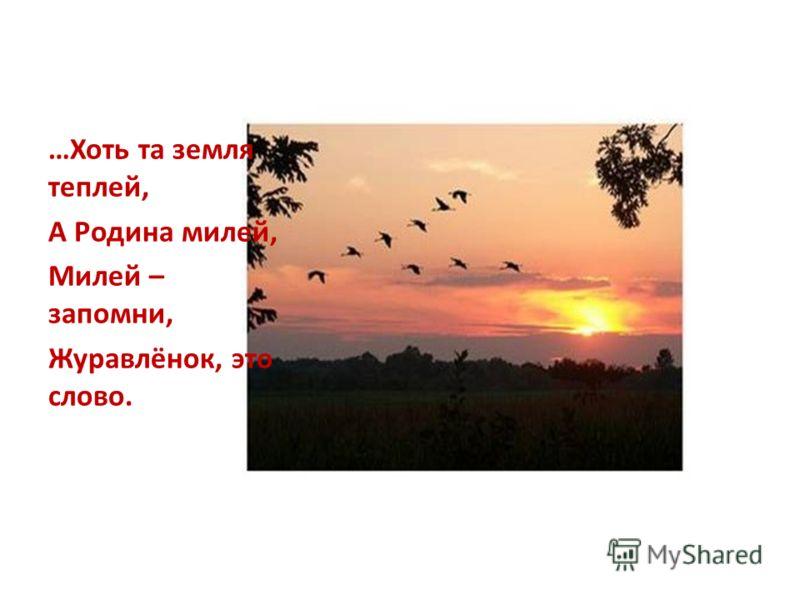 …Хоть та земля теплей, А Родина милей, Милей – запомни, Журавлёнок, это слово.