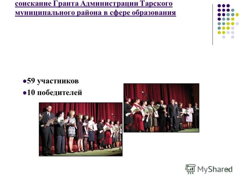 18 Конкурсный отбор педагогических работников на соискание Гранта Администрации Тарского муниципального района в сфере образования 59 участников 10 победителей