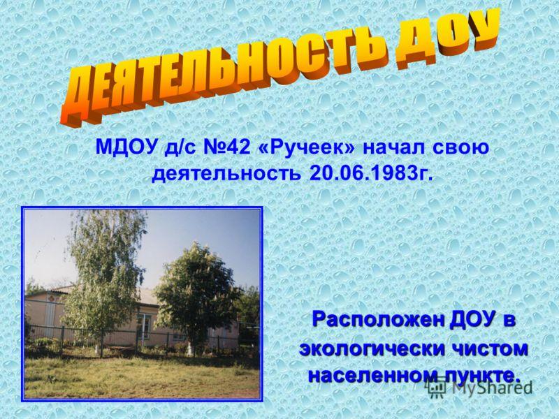 МДОУ д/с 42 «Ручеек» начал свою деятельность 20.06.1983г. Расположен ДОУ в экологически чистом населенном пункте.